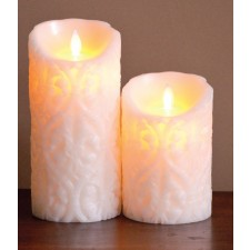 [LED 양초]FLAMELESS CANDLE IVORY DAMASK - 아이보리 [5인치]